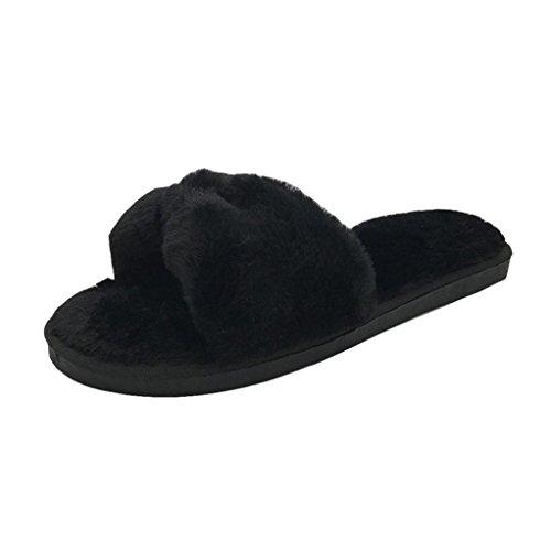 Women Slipper , Womens Ladies Slip On Sliders Fluffy Faux Fur Flat...