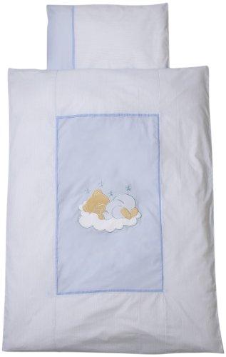 Easy Baby 410-81 Parure de lit 100 x 135 cm Motif ourson endormi Bleu
