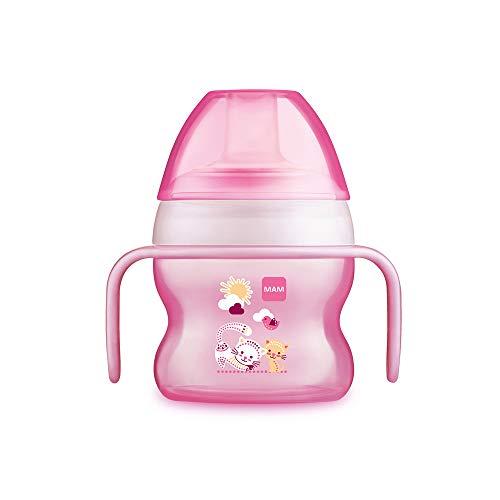 MAM Starter Cup Baby Trinklernbecher (150ml), Trinkflasche für erste Trinkversuche, Schnabelbecher mit rutschsicheren Griffen, ab 4 Monaten, rosa, Tiermotiv - Flasche Baby-lernt