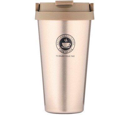 Master Kaffeetasse mit doppelter Wand Lebensmittelqualität Edelstahl Kaffee Tasse Vakuumisolierung Flasche für Reisen Outdoor [500ml] champagnerfarben