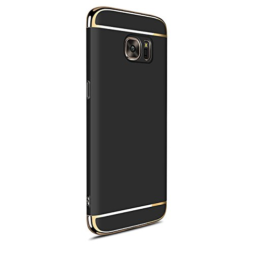 Xelcoy® 3 in 1 (Top + Bottom + Back) Shockproof Dual Layer Electroplated Case Cover For Samsung Galaxy S6 Edge - Black