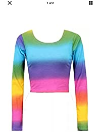 58a99a37a4cdf Mymixtrendz® Women Ladies Long Sleeve Rainbow Summer Crop Top