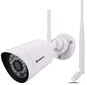 Dericam FULL HD 1080P@25fps Telecamera di sicurezza esterna senza fili con lente di cristallo 3MP HD, slot per scheda di memoria esterna disponibile, B2A, Bianca