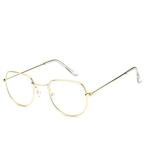 Sonnenbrille Sonnenbrille Retro Metallrahmen Uv400 Klare Linse Plain Gläser Reisen Im Sommer Sonnenbrillen Für Männer Frauen Gold Transparent Spiegel Spiegel (Plain Gläser Wayfarer)