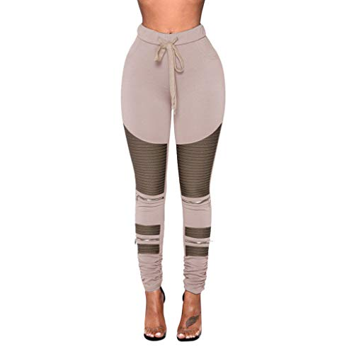 eans Freizeithose Stoffhose Damen Solid Einfarbig Color Block Patchwork Lang Long Casual High Waist Zipper Stretch Street Straight Trousers (4XL,Light) ()