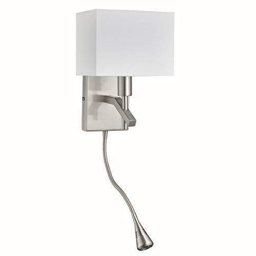 Wandleuchte in Edelstahl Silber Bauhausstil 1xE14 bis zu 40 Watt 230V aus Stoff & Schlafzimmer...