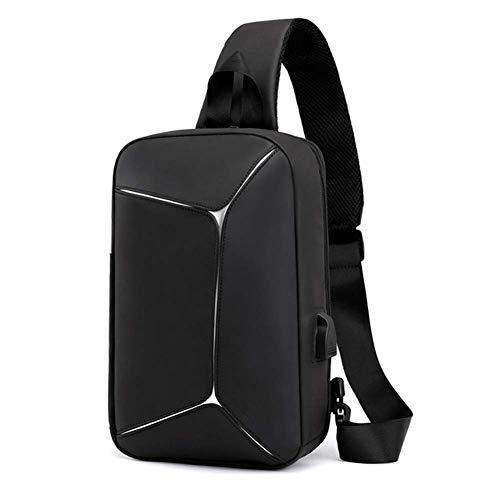 hsy Herren Brusttasche, Business Oxford Tuch wasserdichter Rucksack Multi-Funktions-große Kapazität einstellbar mit USB-Sockel Umhängetasche für College-Reisen