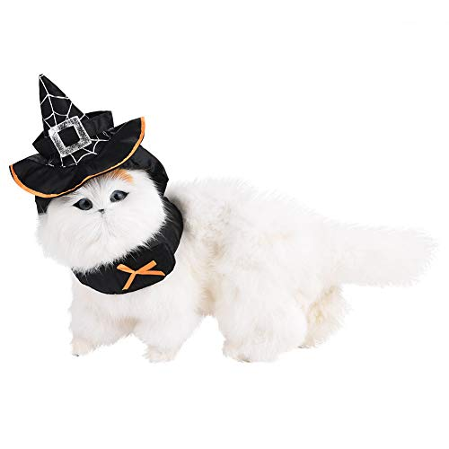 HEEPDD Haustier Partyhüte, Katzen Hund Dekoration Hexenmeister Spitzhut mit Lätzchen Festival Party Cosplay Kopfbedeckung Kostüm für Halloween