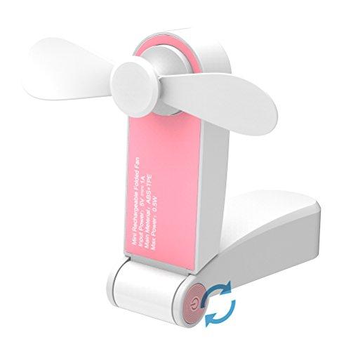 Jhua Tragbarer Mini Lüfter Faltender Kleiner Fan-Taschen-Ventilator USB-Wieder aufladbarer Oder Batterie betriebener Schreibtisch-Fan-Reise-Fans für Haus, Reise, kampierend (Rosa)