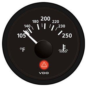 VDO Viewline Onyx 250° F Water Temperature Gauge 12/24V - Use with VDO Sender