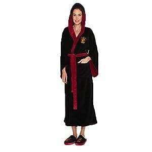 Womens Black Harry Potter Gryffindor Crest Hooded Dressing Gown 2