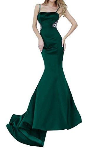 ivyd ressing Femme Spaghetti Mermaid Long Satin Lave-vaisselle Vêtements Prom robe robe du soir Vert foncé