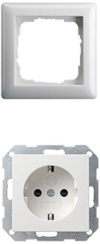 Preisvergleich Produktbild Gira Gira - 10 x Steckdose m.Kinderschutz 045303 + 10x Rahmen 021103 1-fach ST55 reinweiß-glänzend, 045303