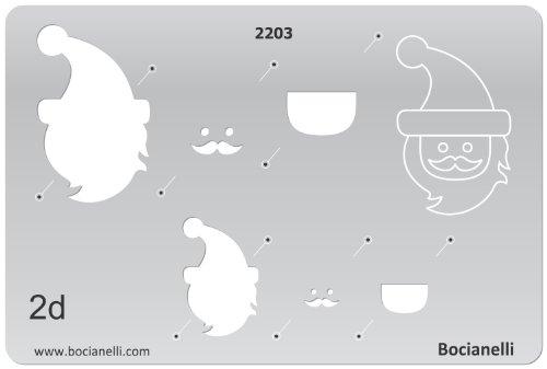 15cm x 10cm Zeichenschablone aus Transparentem Kunststoff für Grafik Design Kunst Handwerk Technisches Zeichnen Schmuckherstellung Schmuck Machen - Santa Claus, Weihnachtsmann, Hut, Bart (Silber Santa Hut)