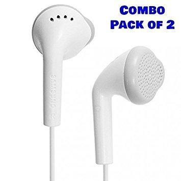 Samsung OEM EHS61ASFWE - YS Handsfree Headphone Headset Earphones With 3.5mm Jack & Mic - Combo (Pack of 2)