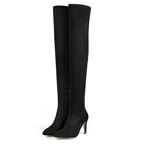 Absätzen event Über Damen Taoffen Stiletto Kniehohe Mode Schwarz Toe Reißverschluss Hohen Fransen Stiefel Stiefeletten Pointed vaqwzqE