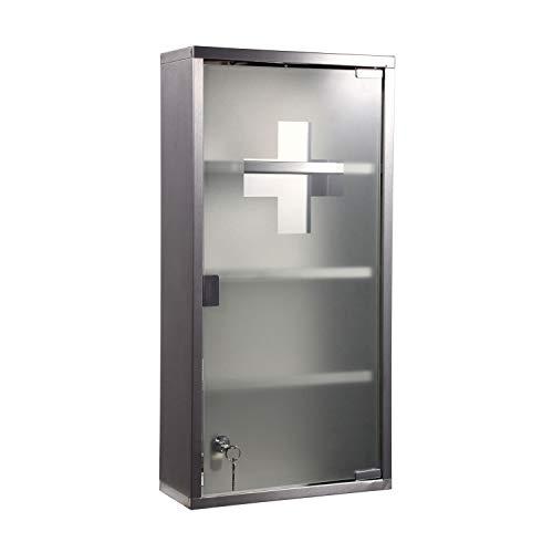 Zedelmaier Medizinschrank aus Edelstahl 4 Fächer mit Glas Tür 57 x 27 x 12 cm