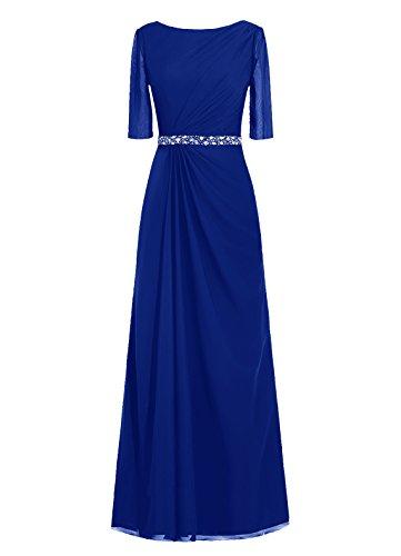 Dresstells, robe de soirée, robe de mère de mariée longueur ras du sol, manches 3/4 Bleu Saphir