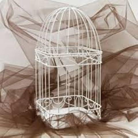 Decoración Vintage en color blanco con jaulas de pájaros - de metal - tamaño 15 x 30 cm