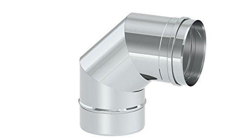 Preisvergleich Produktbild Schornstein - Winkelelement EW einwandig mit 90° Winkel starr, Innendurchmesser 100mm; 0,6mm Wandstärke, Edelstahl