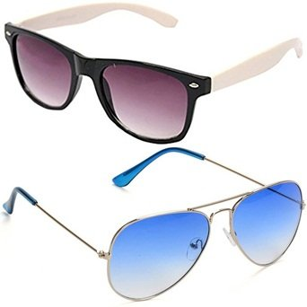Sheomy Unisex Sunglasses Combo Pack of White Side Wayfarer Sun glasses and Silver Light Blue Avaitor Glasses Sun for Men and Women with 2 boxes  available at amazon for Rs.299