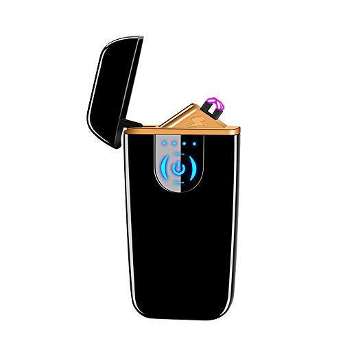 DBG Elektronischer Zigarettenanzünder, Winddicht, flammenlos, elektrisch, doppelter Lichtbogen-Plasma-Feuerzeug, wiederaufladbar, mit Touch-Sensor