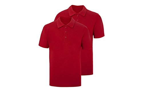 c137d493f Ex UK Store Boys Girls 2 Pack School Polo T Shirts Pique RED Yellow Blue 3