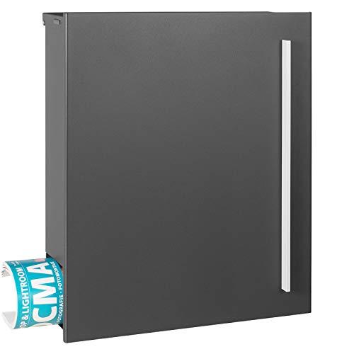 Design-Briefkasten MOCAVI Box 110 mit Zeitungsfach 12 Liter grau (DB 703) Wandbriefkasten Postkasten