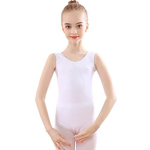 Balletttrikot Ballettanzug Ärmellos Ballettkleid aus Baumwolle fur Kinder Mädchen Damen Weiß 170