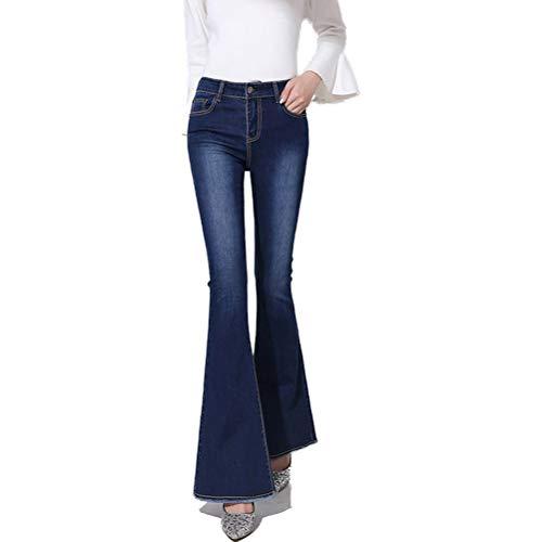 Damen Jeans Schlaghosen Hose mit hoher Taille Slim Fit Schlank Grat stereoskopisch weich Elastizität Vier Jahreszeiten Wild Damen Jeans,Blue,31 Stretch-kick Flare Jeans