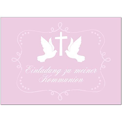 15 x Einladungskarten Kommunion mit Umschlag / 2 Tauben auf Rosa/Kommunionskarten/Einladungen zur Feier