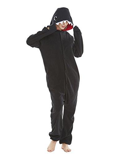 Chenrry Pyjamas Tieroutfit Schlafanzug Snorlax Tier Onesies Weihnachten Sleepsuit mit Kapuze Erwachsene Unisex Overall Halloween Kostüm Shark Black L