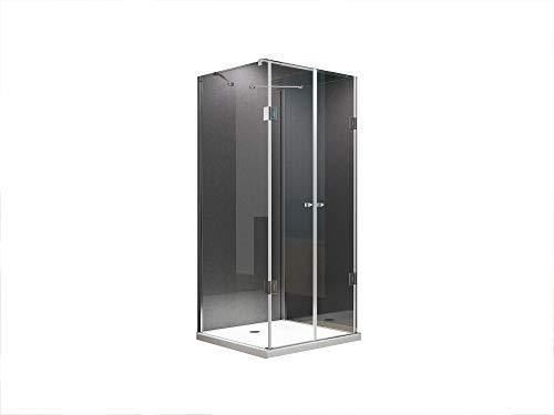 U Form Duschkabine Dusche Emma 80 x 80 x 200cm / 8mm / mit Duschtasse + Ablaufgarnitur