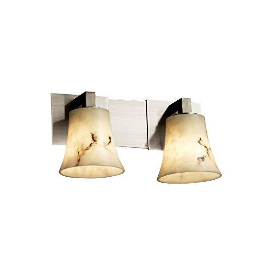 Justice Design Group LumenAria 2-Light Bath Bar - Brushed Nickel Finish with Faux Alabaster Resin Shade by Justice Design Group Lighting -