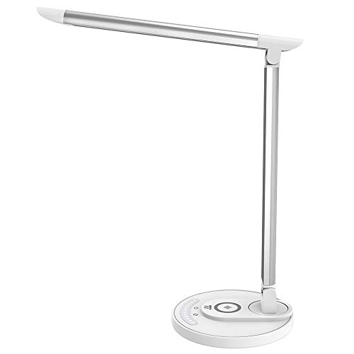 TaoTronics Lampe de Bureau avec Base de Recharge Sans-fil Qi Réglable Design 5 Couleurs et 7 Niveaux de Luminosité Technologie HyperAir Charger Téléphone Compatible Qi-BPP, USB Port Female