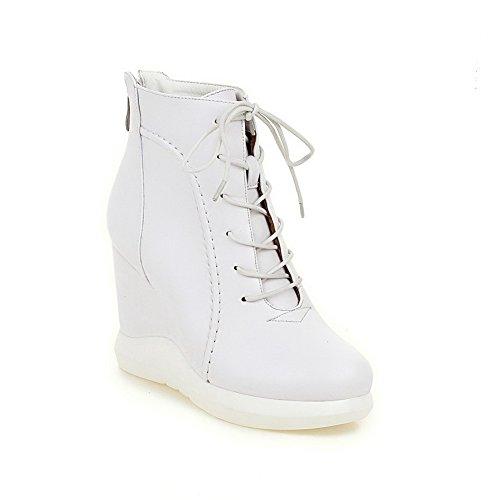 VogueZone009 Damen Niedrig-Spitze Reißverschluss Hoher Absatz Stiefel mit Metallisch Weiß