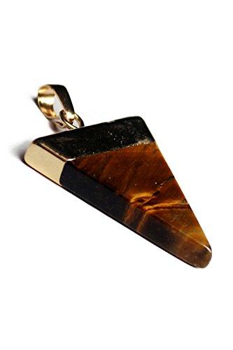 Pendentif-TOOGOO(R) Nouveau Branche Plaque Or Semi-precieux Pierres de gemme Triangulaire Pyramid Chakra Pendentif Pour Collier Jaune Oeil de tigre