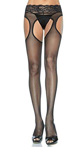 Leg Avenue Lycra Sheer (Leg Avenue Lycra-Strumpfhose, Spitze, Strumpfhalter waist. Einheitsgröße (34-42) und Plus-Size (42-52))