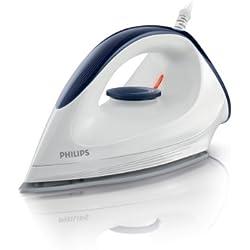 Plancha en seco marca Philips modelo GC160/02. Suela DinaGlyde. Potencia: 100W. Suela de punta estrecha