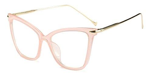 BOZEVON Classico Retrò Moda Lente Trasparente Occhiali da Sole per Donna Occhio di gatto Oversized Occhiali,