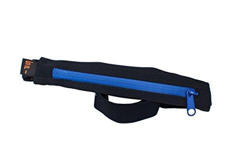 SPIbelt Laufgürtel Performance Serie - Grosse Tasche mit Gelschlaufen (Schwarz mit blauen Reißverschluß)