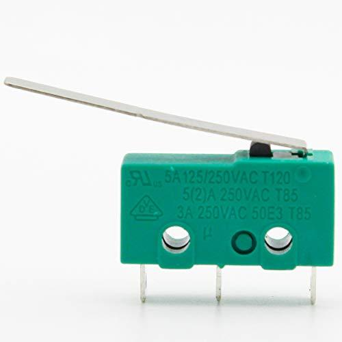 10 STÜCKE 3 Pins Micro Touch一Schalter NO + NC 3a/5a 125VAC 250VAC Mini Endschalter Mikroschalter Mikroschalter mit 29mm langem Hebel