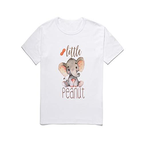 Lazzboy Blusa para niños niño bebé Dibujos Animados Elefante Letra de impresión Camiseta Top (Blanco,110)