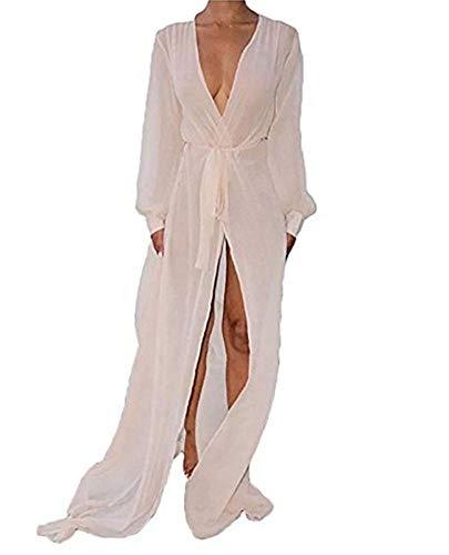 CHRONSTYLE Damen Chiffon Kimono Bikini Cover up Maxi Kleid Lang Sommer Boho Chiffon Kimono Stil Gedruckt Tops Jacke Cardigan Blusen Beachwear (Weiß, XL) - Schiere Kimono Top
