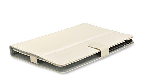 iprotect Kunstleder Tasche für MEDION LIFETAB Schutz Hülle Case mit Stylus Pen für E10320 MD98641 10,1 Zoll weiß