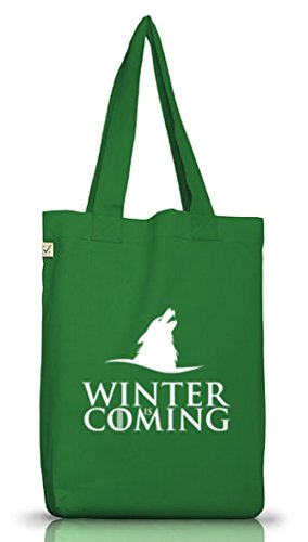 Serien Jutebeutel Stoffbeutel Earth Positive Wolf Winter Is Coming Moss Green
