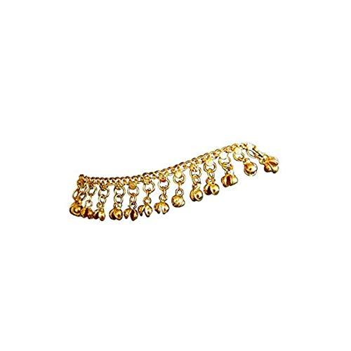 Gamloious Indische traditionelle Bauchtanz Ghungroo Messing Fußkette mit Glöckchen goldfarbenem