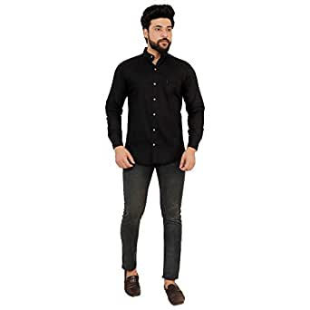 Home Tex Men's Cotton Casual Shirt for Men Full Sleeves Black