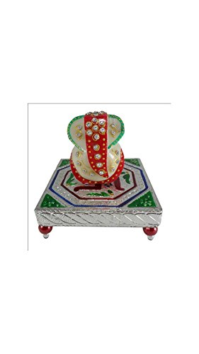SHINING WINGS - Marble Chowki Ganesha Idol (10 cm x 10 cm x 10 cm) - Marble Chowki Ganesha |Marble Chowki Ganesh | Small Solid Modern Ganash Statue Engraved with Stones Hindu Religious Gifts Indian Decor a Perfect Idea for House Warming Gift, Ganpati Ganesh Idol Great Size for Small Home,Hindu Indian Elephant God Figurine Statue Sculpture, Statue of Lord Ganesha Mosaic Statue with Marble Choki, Modern Articraft Design in Red and Green  available at amazon for Rs.209
