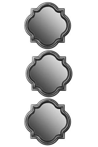 elbmöbel 3er Set Spiegel Wandspiegel Barockspiegel Dekopiegel 24x24x2 (Silber)